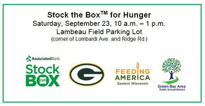 Stock the Box for Hunger scheduled for September 23, Lambeau Field parking lot