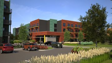 Rendering of 444 Social Apartments in Lincolnshire, Ill.