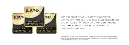 Associated Bank's Contact Centers certified for third year by J.D. Power