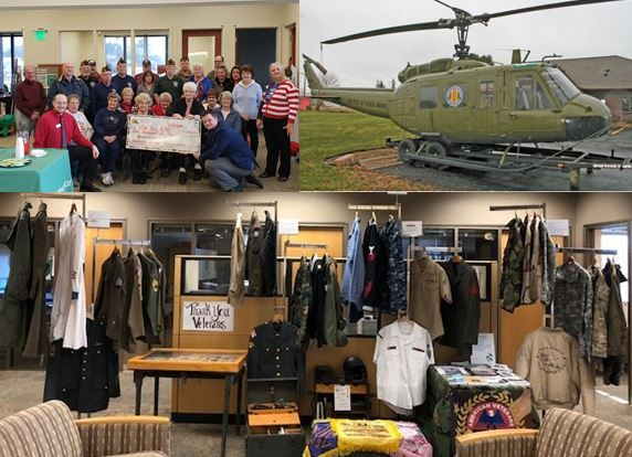 Check presentation event to VFW Post 388 at the Weston branch (top left). A Vietnam era UH-1 Huey helicopter on display at the Baldwin branch (top right). Veterans display at the Associated Bank Howard branch (bottom).