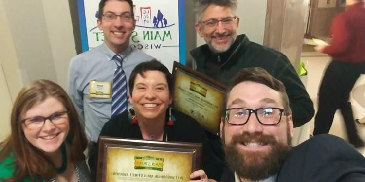 Taking a moment for a celebration group selfie are Viroqua Chamber Main Street representatives. Pictured are (from left) Emily Ruud, Jason Schmidt, Nora Roughen-Schmidt, Paul Deutsch and Peter Ruud.