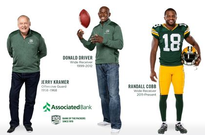 New partnerships with Packers alumni Donald Driver and Jerry Kramer help Associated Bank celebrate 100 seasons with the Packers