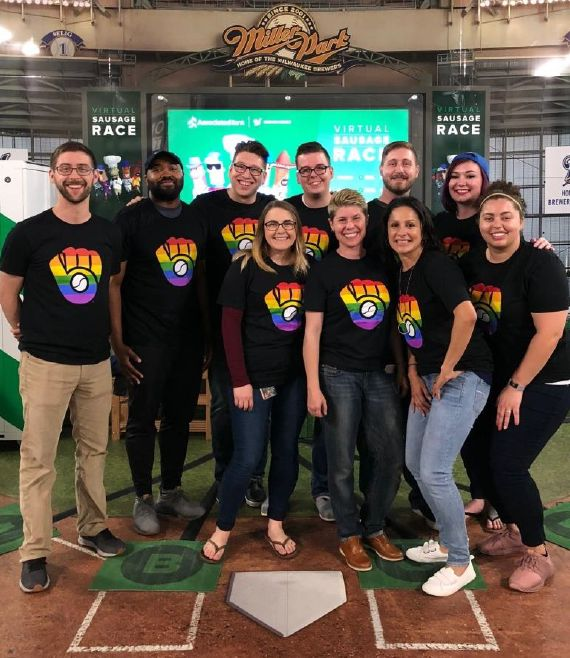 Associated Bank colleagues attend first-ever Brewers Pride night at Miller Park on June 21