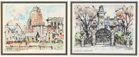 Two of the Max Fernekes' paintings donated by Associated Bank:  In the Third Ward (left) and Wisconsin Club Gate (right).
