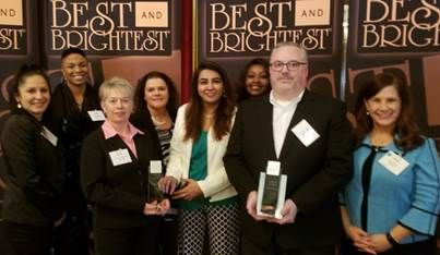 Associated Bank colleagues (pictured left to right) at the awards gala on March 8: Elizabeth Strike, Chandra Rodgers, Laurie Riedy Timmerman, Diana Michel, Ritika Singh, Kanini McDaniel-Cowans, John Weeks and Meghan Kaucic.