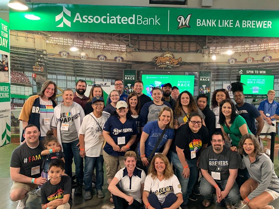 Associated Bank colleagues attended Brewers Pride night at Miller Park on June 5.