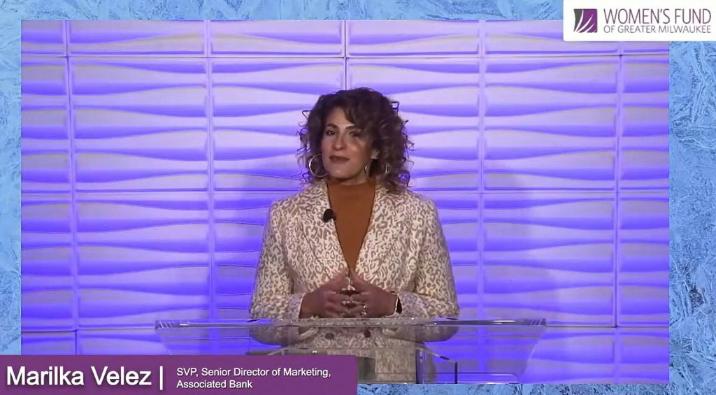 Marilka Velez presents at the Women's Fund of Greater Milwaukee Game Changers Driving Equity Forward event