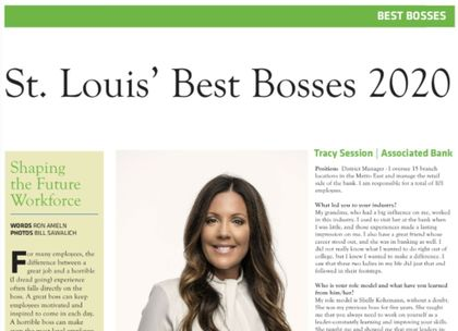 Tracy Session of Associated Bank recognized as part of St. Louis' Best Bosses 2020 list