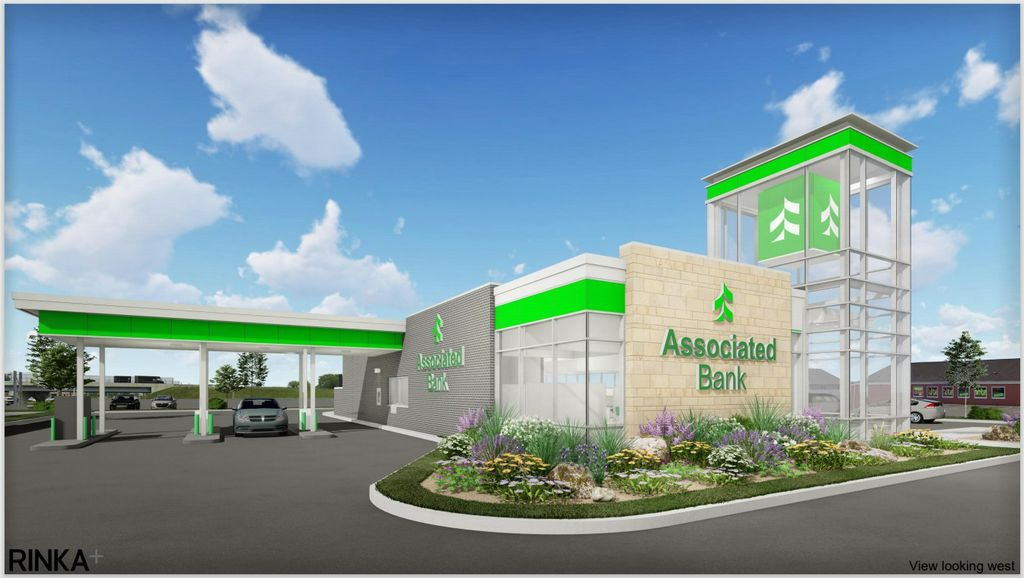 A rendering of the planned Associated Bank branch at 2520 Mall Dr.