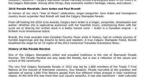 2016 Parade Marshals and History
