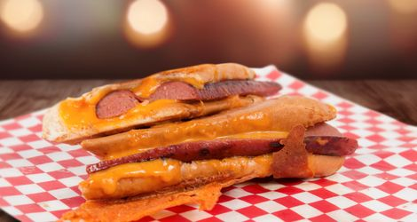 Foot-long Hotdog Grilled Cheese