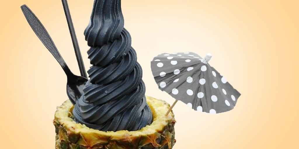 Charcoal Ice Cream Pineapple