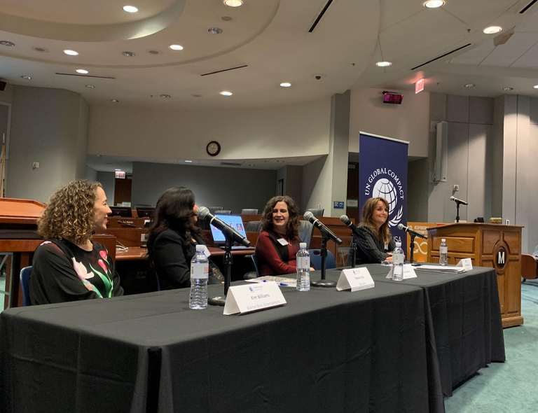 Panel on gender equality. Left to right: Kim Williams, EVP and CFO Warner Bros.; Rashmi Char, VP of Engineering  Qualcomm; Deborah Gibbins, COO Mary Kay and Holly Smithson, CEO Athena