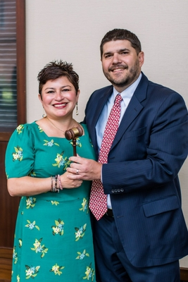 Theresa Flores, Senior Manager of Public Affairs for Mary Kay Inc. with immediate Past President, David Christman, National Beer Wholesalers Association.