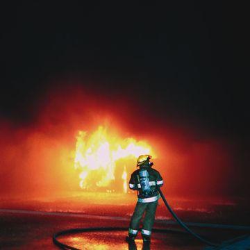 Firefighter fire test
