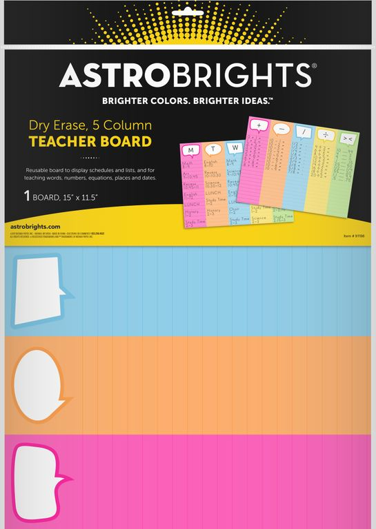 Astrobrights® Dry-Erase 5-Column Teacher Board