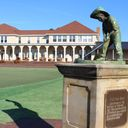 Putter Boy Statue with Clubhouse