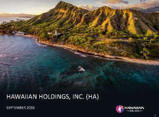 Hawaiian Holdings Cowen and Company 9th Annual Global Transportation Conference Presentation - September 2016