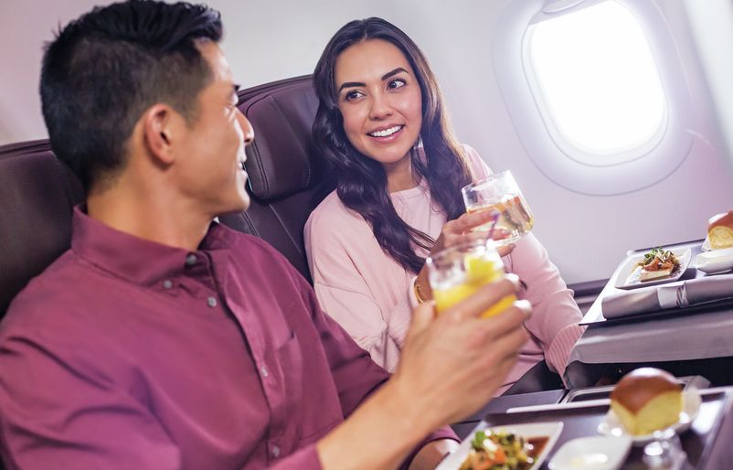 A321 First Class Couple with Meal and Cocktail
