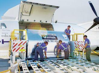 Cargo Crew Loading ATR72 Aircraft