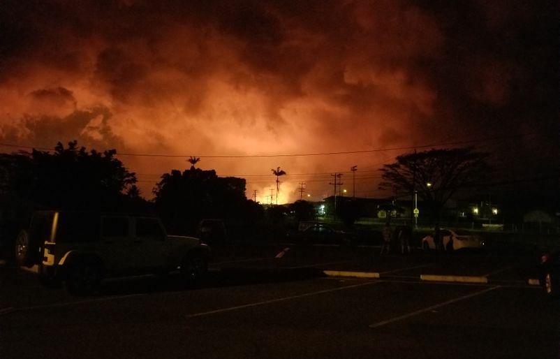 Kilauea glow at night