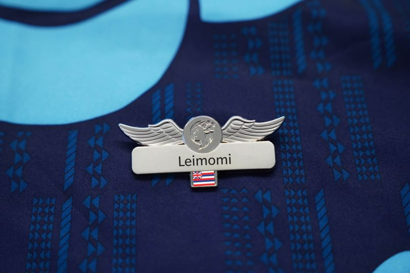 Flight Attendant Name Tag with Flag