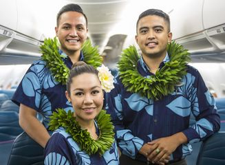 L to R: Hawaiian Airlines Flight Attendants Kainoa McGill, Kamyl Burrows and Punahele Kealanahele-Querubin