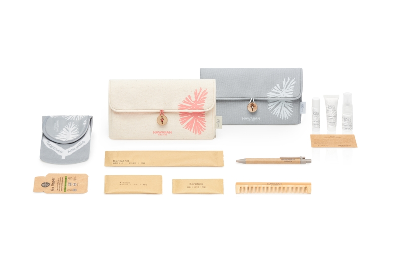 International Business Class and JFK/BOS First Class Amenity Kits with Canvas Clutches