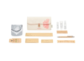 International Business Class and JFK/BOS First Class Amenity Kit with Natural Canvas Clutch