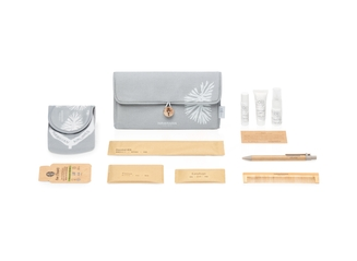 International Business Class and JFK/BOS First Class Amenity Kit with Grey Canvas Clutch