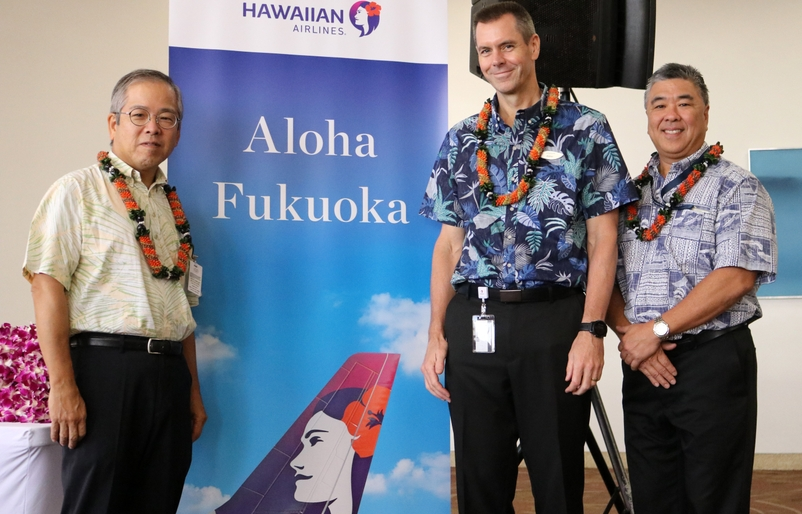 L to R_ Japan Consul General Koichi Ito Hawaiian Airlines President and CEO Peter Ingram and Hawaii Dept. of Transportation Deputy Di