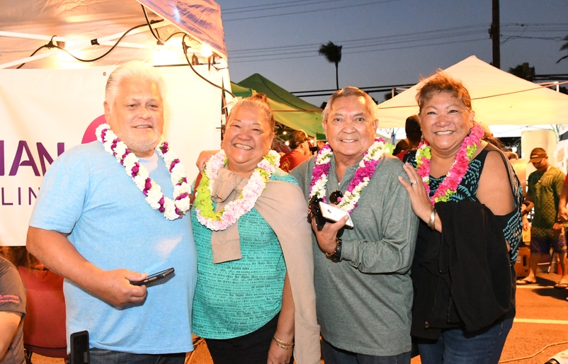 The winners of Hawaiian Airlines' OGG-LAS flight giveaway. L to R: Godfrey Akina, Nadine Bagda, Maurice Bediamol, Geraldine Oliveros. Image Credit: Linn Nishikawa & Associates, Inc.
