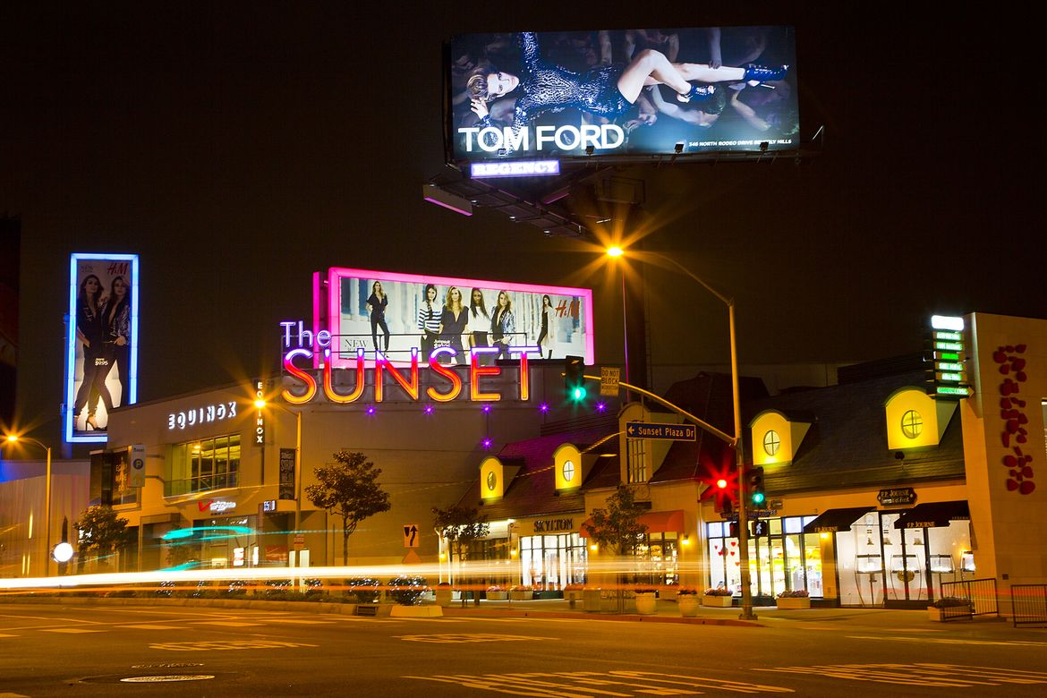Sunset Blvd at night