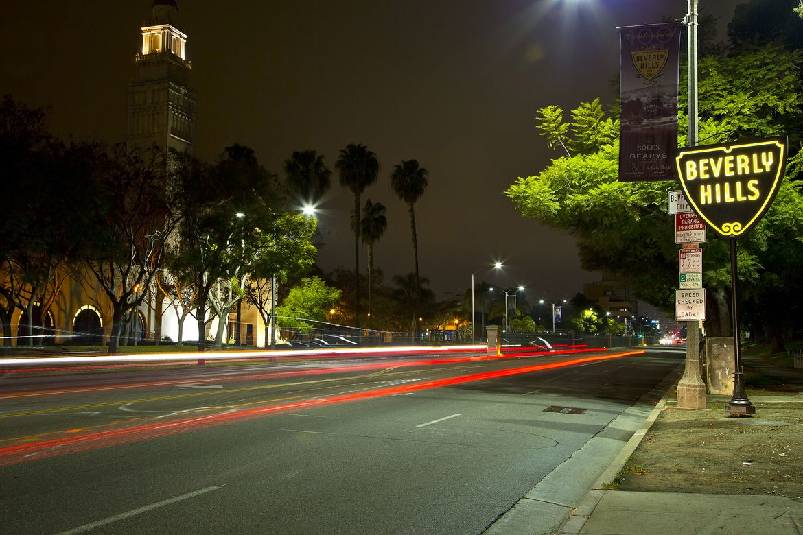 Beverly Hills streets - night