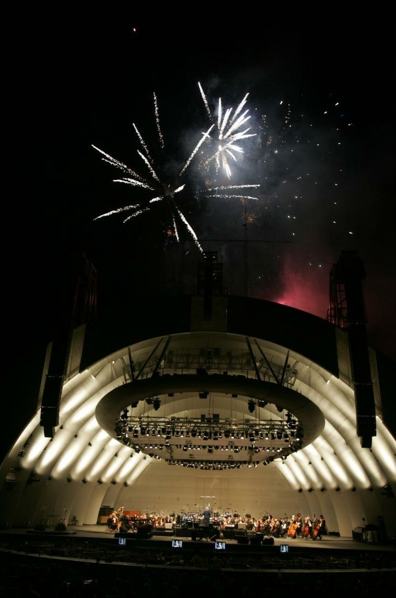 Hollywood Bowl with fireworks