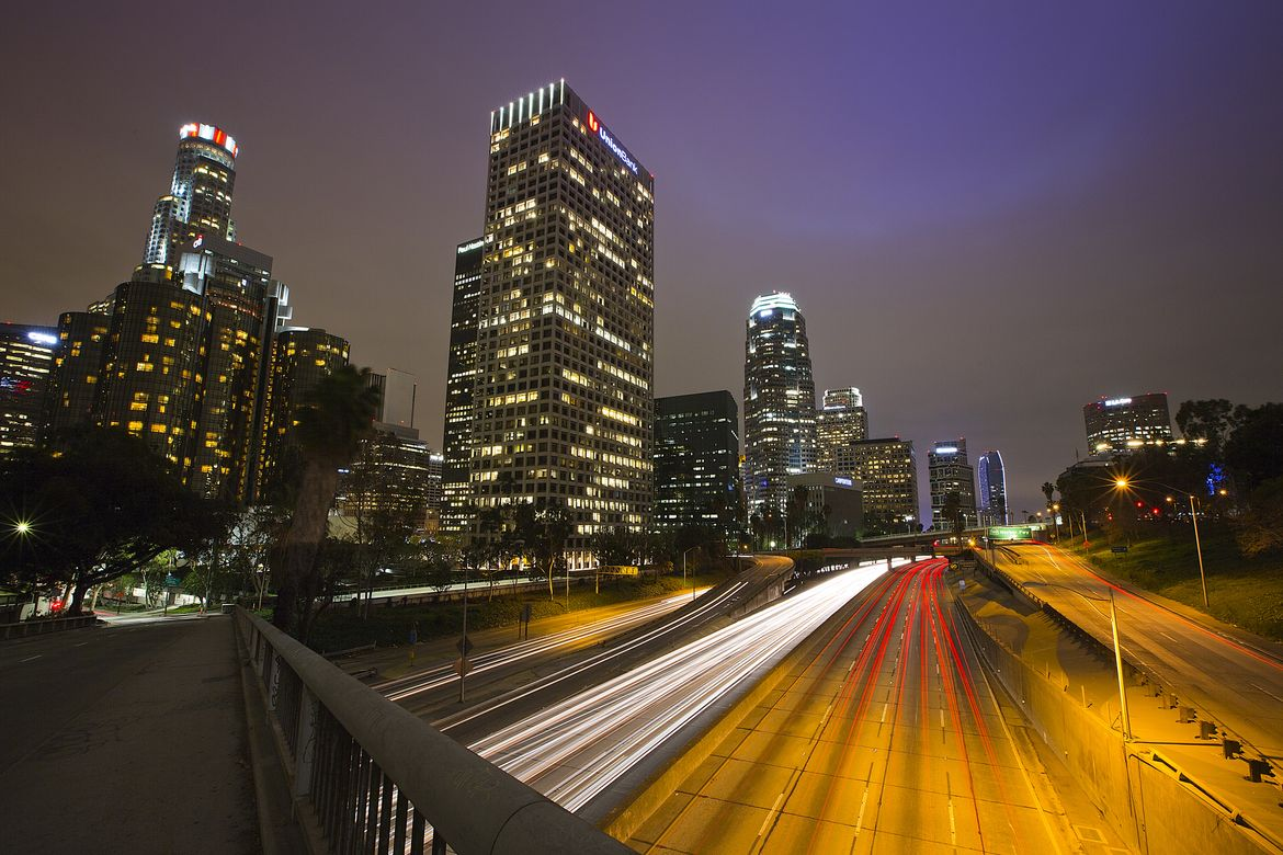 Freeway at night in Downtown