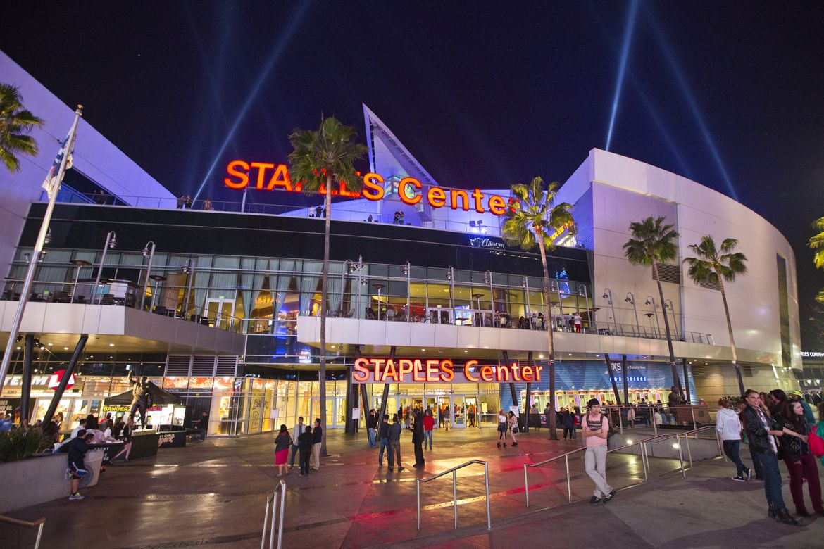 STAPLES Center at night