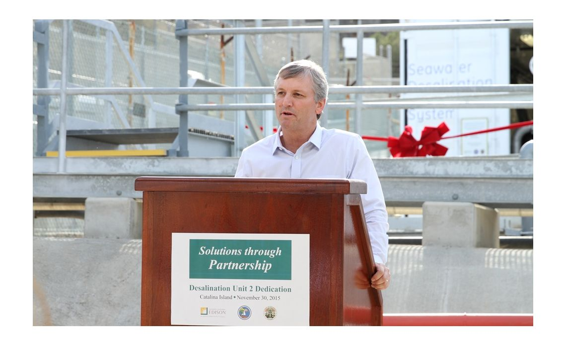 Catalina desalination plant ribbon cutting