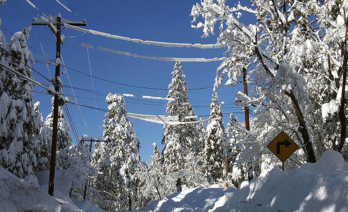 Snow on power lines in Forest Falls