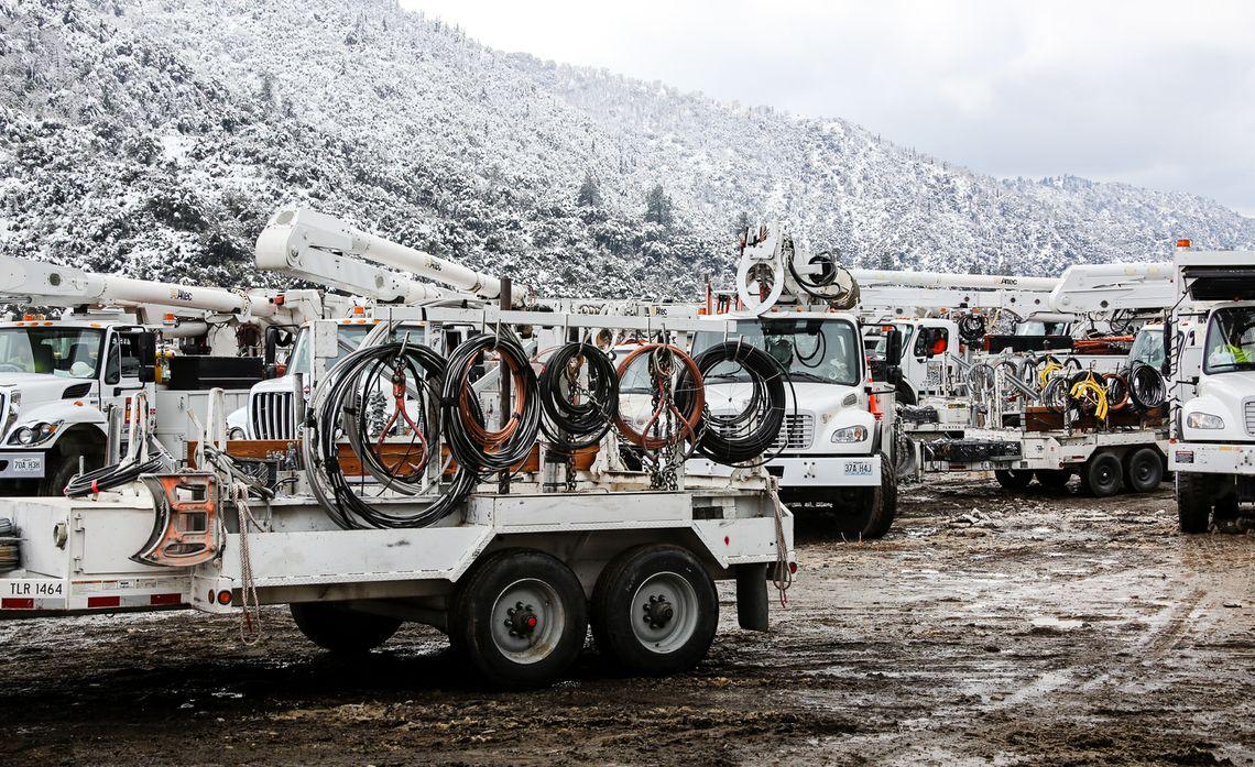 Forest Falls crew trucks