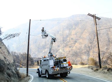 SCE Crews Work to Protect First Responders in Areas Devastated by Sand Fire