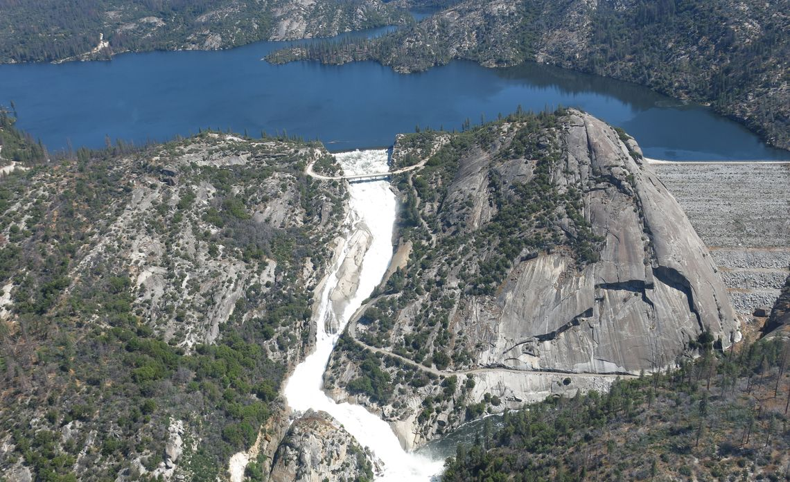 Spillway at Mammoth Pool dam and reservoir