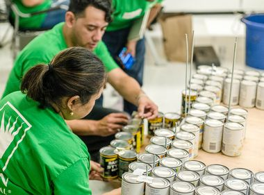 SCE Volunteers Cook Up Electric Bucket Truck Made of Food Cans