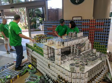 Cans of Food From SCE's Canstruction Entry Head to OC Food Bank