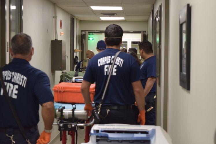 Paramedics during hazardous materials drill