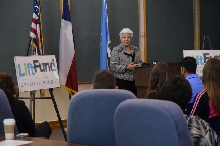 Mayor Nelda Martinez speaks at Liftfund Presser