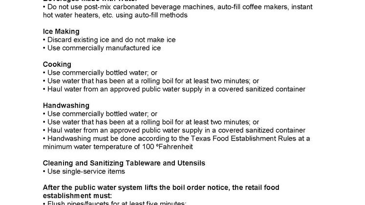 Guidelines for Food Establishments During Water Boil Advisory