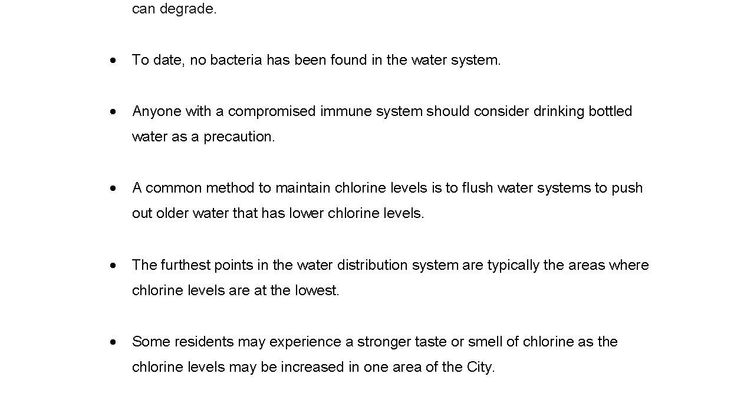Chlorination of Water Fact Sheet