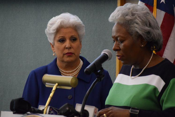 Mayor Nelda Martinez and Deputy City Manager Margie Rose Address the Media