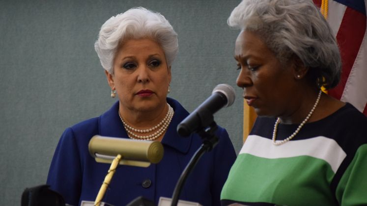 Mayor Nelda Martinez and Deputy City Manager Margie Rose Address the Media